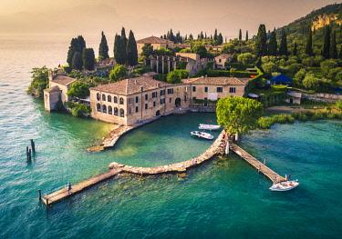 CLKST90183 Aerial view of Punta San Vigilio on Garda Lake. Verona Province, Veneto, Italy