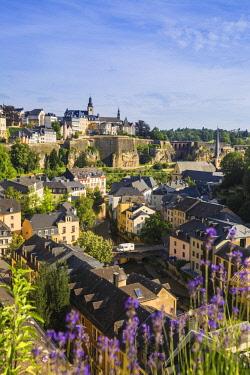 LX01041 Luxembourg, Luxembourg City, View over the Grund - the lower town towards The Corniche (Chemin de la Corniche)