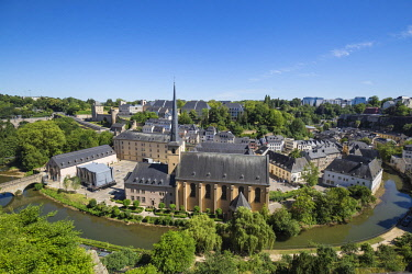 LX01150 Luxembourg, Luxembourg City, View of Neimenster Abbey, a meeting place and cultural centre and the Grund