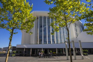 LX01151 Luxembourg, Luxembourg City, Kirchberg, Place de l'Europe. The Philharmonie - Philharmonic Hall - Designed by French architect Christian de Portzamparc - home to the  Philharmonique orchestra