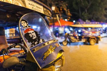 LS02052 Laos, Luang Prabang, Sisavangvong Road, Handicraft Night Market,  tuk-tuk motorcycle taxi