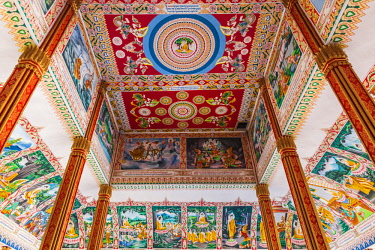 LS02126 Laos, Vientiane, Wat That Luang Tai, ceiling with Buddhist paintings