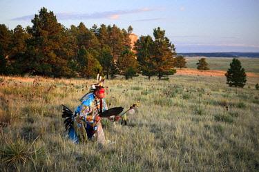 USA13868AW North America, USA, Great Plains, Montana, Medicine Rocks, State Park, Robert Yellowhawk, Lakota, MR 0596