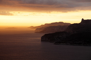 FRA10473AW France, Provence, Bouches-du-Rhone: Sunset at the Calanques National Park and Cassis