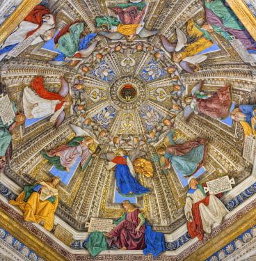 IT09366 Fresco painting by Melozzo da Forli (15th century), Basilica della Santa Casa interior, Loreto, Ancona, Marche, Italy