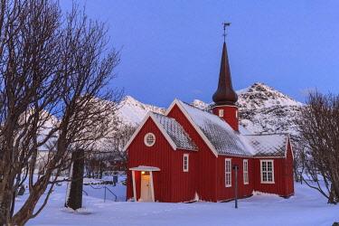 IBXICQ04353234 Church in snow, Flakstad, Lofoten, Nordland, Norway, Europe