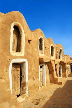 IBXPWP04301091 Northern Sahara mud brick Berber ghorfas, Berber grain warehouses, Ksar Hedada or Hadada, near Tataouine, Northern Sahara, Tunisia, Africa