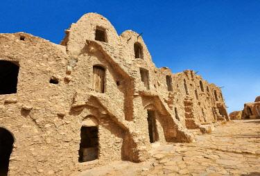 IBXPWP04301097 Northern Sahara mud brick Berber ghorfas, Berber grain warehouses, Ksar Hedada or Hadada, near Tataouine, Northern Sahara, Tunisia, Africa