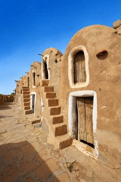 IBXPWP04301099 Northern Sahara mud brick Berber ghorfas, Berber grain warehouses, Ksar Hedada or Hadada, near Tataouine, Northern Sahara, Tunisia, Africa
