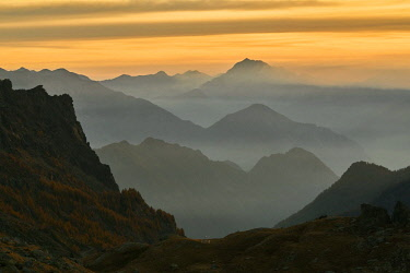 IBXRFA04655435 Mountain scenery, mountain panorama in the sunrise, morning mist, Champorcher, Aosta Valley, Italy, Europe