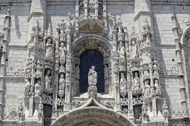 IBXSIM04361144 Facade, Detail, Mosteiro dos Jerunimos, Jeronimos Monastery, Belem, Lisbon, Lisbon District, Portugal, Europe