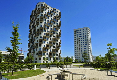 IBXABC04390109 Modern high-rise building, residential area, newly-builtHofmann Höfe, Obersendling, Munich, Bavaria, Germany, Europe