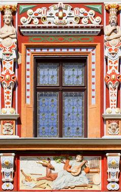 "IBXANN04073580 Window of the historic ""Haus zum Breiten Herd"",  Renaissance mansion, historic centre, Erfurt, Thuringia, Germany, Europe"