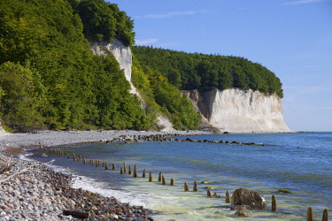 IBXHCO04040416 Chalk cliffs and beach in the Jasmund National Park, Baltic Sea, Island of R�gen, Mecklenburg-Western Pomerania, Germany, Europe