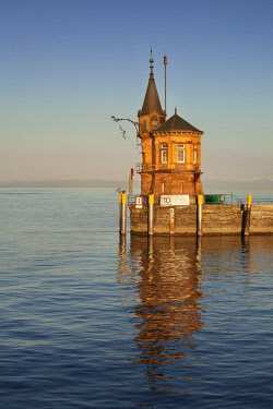 IBXMAL04375297 Harbour entrance, old harbour tower, Constance, Lake Constance, Baden-Wurttemberg, Germany, Europe