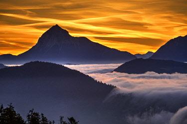 IBXMAN04494995 Sunrise, view from Hirschh�rnlkopf southeast, at back the Guffert in Tyrol, Jachenau, Isarwinkel, Upper Bavaria, Bavaria, Germany, Europe