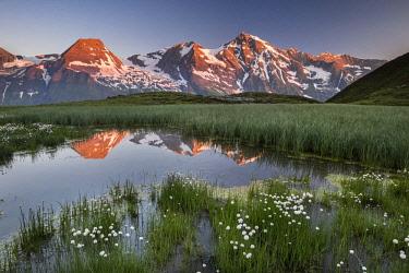 IBXROH04719413 Mountain peaks are reflected in a small pond, sunrise, Hohe Dock, Vorderer Bratschenkopf, Gro�er Wiesbachhorn, Hohe Tauern National Park, Salzburger Land, Austria, Europe