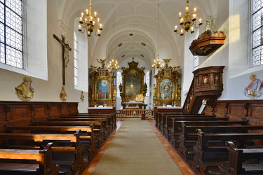 IBLREH04389484 Interior of the castle church, Freundsberg castle, Schwaz, Tyrol, Austria, Europe