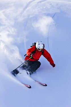 IBLVCH04234826 Freerider in deep snow, Wiedersbergerhorn, Alpbach, Alpbach Valley, Tyrol, Austria, Europe