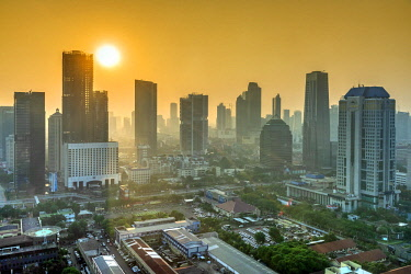 IDA0779AW City skyline at sunset, Jakarta, Java, Indonesia
