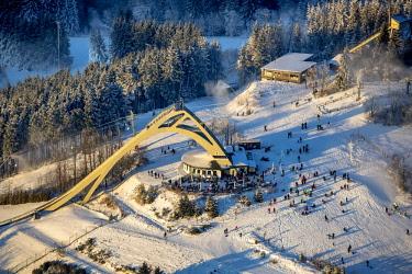 IBLBLO04053269 Aerial view, Sankt-Georg-Schanze, ski jump,  Winterberg, Hochsauerland district, Sauerland, North Rhine-Westphalia, Germany, Europe