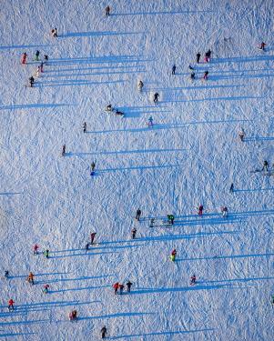 IBLBLO04053271 Aerial view, skiers on a training hill, Winterberg, Hochsauerland district, Sauerland, North Rhine-Westphalia, Germany, Europe