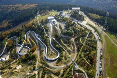 IBLBLO04250256 Winterberg bobsleigh track, Winterberg, Sauerland, North Rhine-Westphalia, Germany, Europe