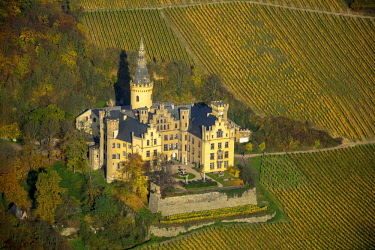 IBLBLO04285508 Arenfels Castle in vineyards in autumn, Bad Breisig, Rhineland-Palatinate, Germany, Europe