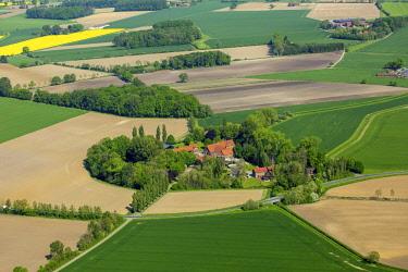 IBLBLO04365815 Aerial view, farm, estate between farm fields, between Dulmen and Senden, Muensterland, North Rhine-Westphalia, Germany, Europe