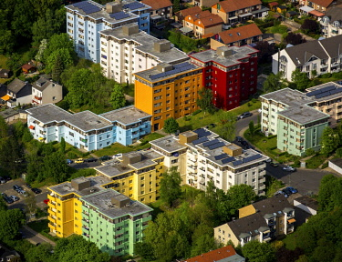 IBLBLO04365839 Aerial view, colorful high-rise housing, district Gewecke, Hagen, Ruhr district, North Rhine-Westphalia, Germany, Europe