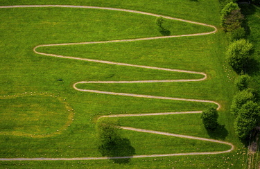 IBLBLO04367359 Serpentine way for heart patients, way in the form of amplitude, zigzag path, footpath in zigzag curves, aerial view, Ennepetal, Ruhr district, North Rhine-Westphalia, Germany, Europe
