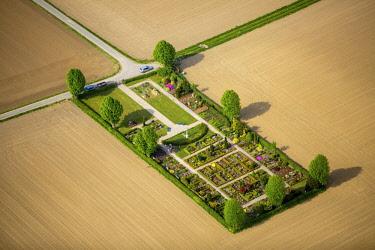 IBLBLO04367438 Aerial view, small cemetery between farm fields, Wambel, Hamm, Ruhr district, North Rhine-Westphalia, Germany, Europe