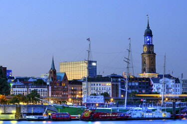 "IBLCOF02355929 St. Michaelis Church, Michel, harbour shore and ""Blue Port"" illuminations in Hamburg, Germany, Europe"