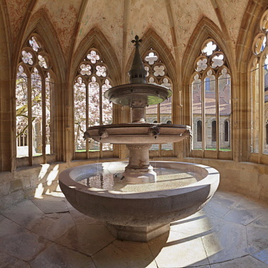 IBLMAL04359253 Fountain in Maulbronn Monastery, Black Forest, Baden-Wurttemberg, Germany, Europe