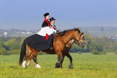 IBLMAN04384723 Blutritt, mounted procession in Weingarten, Upper Swabia, Swabia, Baden-Wurttemberg, Germany, Europe