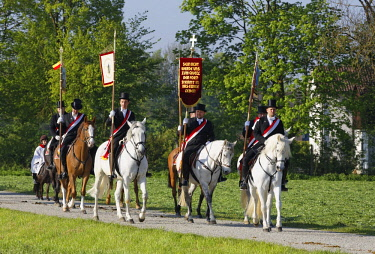 IBLMAN04384724 Blutritt, mounted procession in Weingarten, Upper Swabia, Swabia, Baden-Wurttemberg, Germany, Europe