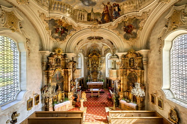 IBLRAI04386940 Parish Church of St. Margareth, baroque interior, Bayrischzell, Upper Bavaria, Bavaria, Germany, Europe