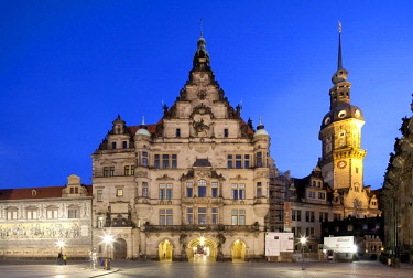 IBLRBB02289603 Royal Palace, Hausmannsturm tower, Dresden, Saxony, Germany, Europe, PublicGround, Europe