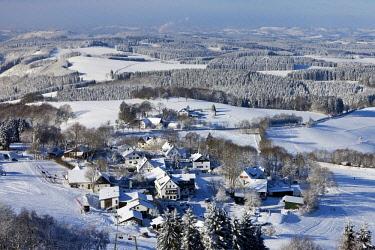 IBLSZI04322871 Aerial view, Wildewiese municipality in winter, Sundern, Sauerland, North Rhine-Westphalia, Germany, Europe