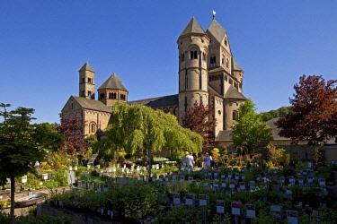 IBLSZI04716505 Maria Laach Abbey, view from the monastery nursery, Glees, Eifel, Rhineland-Palatinate, Germany, Europe