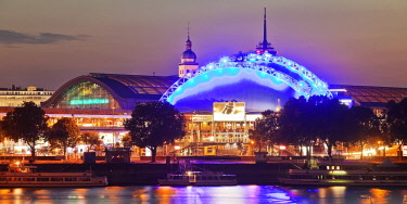 IBLSZI04726228 Illuminated Central Station and Musical Dome with Rhine at dusk, Cologne, North Rhine-Westphalia, Germany, Europe