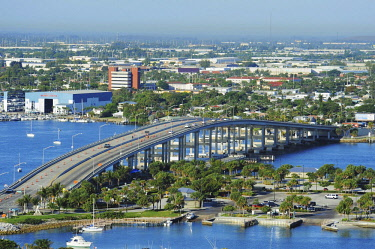 IBLPST02245218 View of West Palm Beach, bridge, Florida, USA, North America