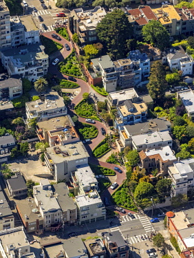 IBLBLO04348418 Aerial view, Lombard Street with hairpin turns, winding road, the streets of San Francisco, San Francisco, San Francisco Bay Area, California, USA, North America