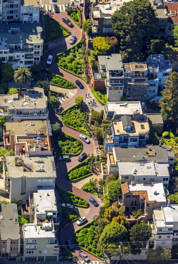 IBLBLO04348419 Aerial view, Lombard Street with hairpin turns, winding road, the streets of San Francisco, San Francisco, San Francisco Bay Area, California, USA, North America