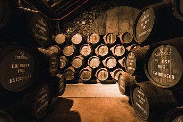 POR9869AW Portugal, Norte region, Porto (Oporto). Graham's Porto wine cellars in Villa Nova de Gaia.