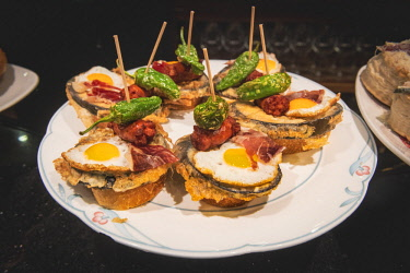 SPA8442AW Spain, Basque Country, San Sebastian (Donostia). Traditional Pinchos (Pintxos) snacks.