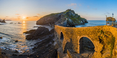 SPA8457AW Spain, Basque Country, Gaztelugatxe. Walkway to the hermitage at sunset.