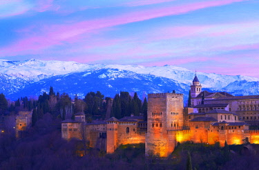 Alhambra, UNESCO World Heritage Site, at dusk, Sierra Nevada, Granada, Andalusia, Spain, Europe