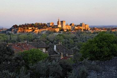 IBLMSK02304326 Pope's Palace, Avignon, view of Villeneuve-les-Avignon, Provence region, France, Europe