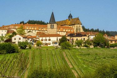 IBLBJA04369437 Ambierle, village in CU'te Roannaise, vineyard, Ambierle village, Roanne arrondissement, Loire dE'partement, Auvergne-RhU'ne-Alpes region, France, Europe